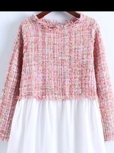 Tweed baby doll Top